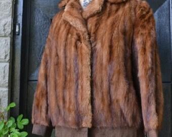 vintage mink fur   jacket -vintage fur bomber jacket-mink coat