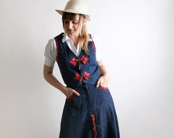 ON SALE Vintage Cowgirl Dress - Southwest Outfit - Blue Jean Skirt and Vest 2 Piece Rodeo Prairie Harvest