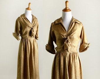 ON SALE Vintage 1940s Dress - Mustard Yellow Swirls and Dots Day Dress - Small Medium