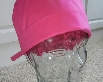 Fold Up Surgical Scrub Hat in Solid Hot Pink