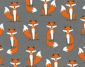 Fabulous Fox Fabric Small Foxes in Gray, Modern fabric, Woodland Animal, Boy fabric, Andie Hanna- Nursery Fabric, Quilt Fabric, Fox fabric
