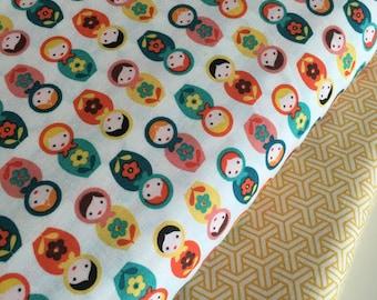 Doll fabric, Girl fabric, Matryoshka, Suzy's Minis fabric, Nursery fabric, Robert Kaufman, Modern fabric, Bundle of 2- Choose the Cut