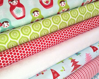 Christmas Fabric bundle by Riley Blake, Nesting Doll, Doll fabric, Merry Matryoshka, Bundle of 7, Choose the Cuts, Free Shipping Available