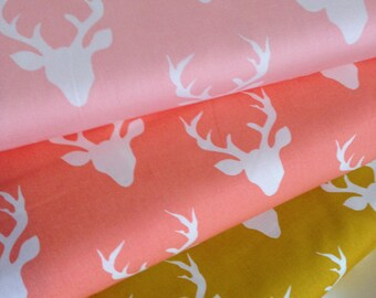 Hello Bear fabric bundle of 3, Deer fabric by Art Gallery, Woodland Creatures, Antler fabric, Cotton Fabric by the Yard, Choose the Cut