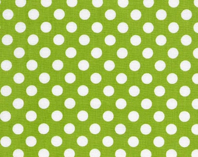 Sale Fabric, Spot on Polka Dot fabric, Quilt fabric, Cotton Fabric by the Yard, White and Lime fabric, Robert Kaufman, Choose your cut