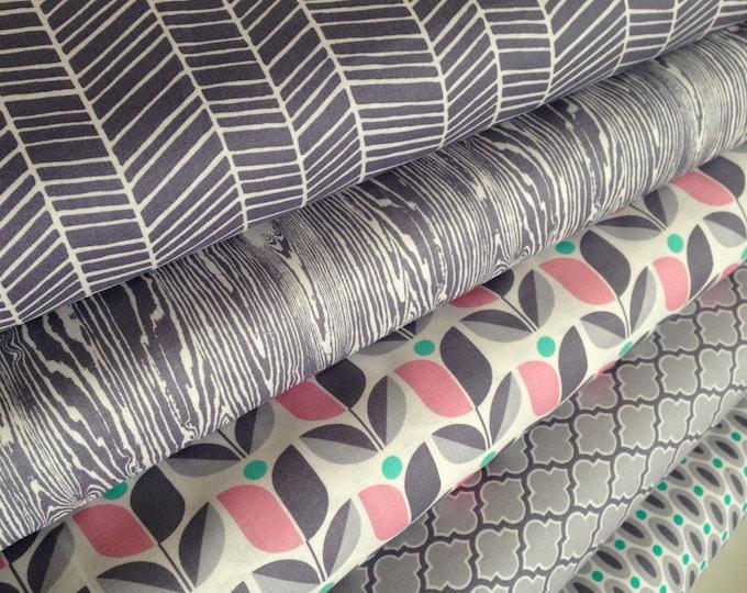 Gray Fabric, Woodland Nursery, Herringbone, True Colors by Joel Dewberry, Nursery fabric, Wedding Fabric, Gray fabric, Fabric Bundle of 5