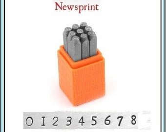 "NEW - Basic Newsprint - NUMBERS Handwriting - 1/8"" (3Mm) size - includes tutorial for how to stamp metal"