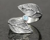 Aquamarine sterling silver leaf ring  - elf pixie tribal boho