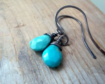Turquoise Earrings, Oxidized, Wire Wrapped, Sterling Silver, Modern, December Birthstone Gifts Under 40 Gemstone Earrings Southwestern