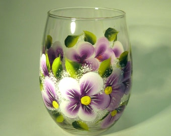Hand Painted Purple Violet Stemless Wine Glass