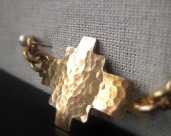 Gold Sideways Cross Connector Hammered Bronze Bracelet Connector Item No. 8848 3678