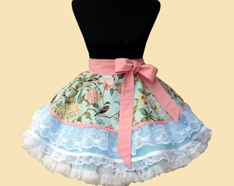 "Women's Apron - Half Apron ""Blue Birds"" Womens Retro Apron READY TO SHIP"