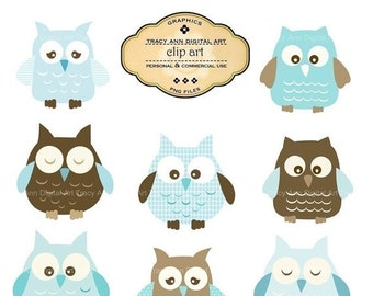 Baby Blue Owl Clip Art -  commercial and personal use