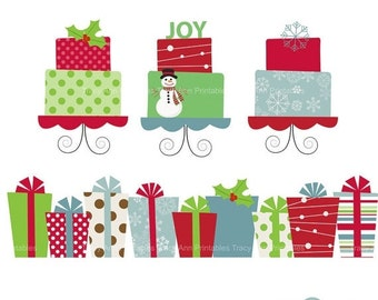 Clip Art  Christmas Presents and Cakes - Clip art set -  Xmas1