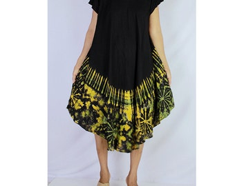 Women Maxi Gypsy Boho Hippie Summer Beach Tie Dye Rayon Comfy Dress (TD 19)
