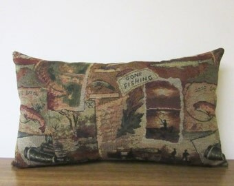 Lumbar Pillow Fish Gone Fishing Fishermen Cabin Lodge Decor Woodlands Tapestry