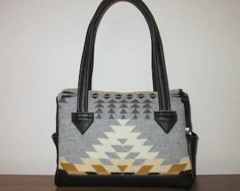 Handbag Purse Shoulder Bag Black Leather Blanket Wool from Pendleton Oregon