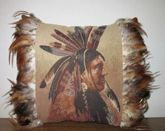 Feather Trim Southwestern Medicine Man Tapestry Pillow Tribal Inspired Western Focal Point Pillow OOAK