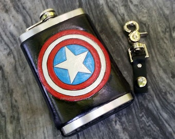 Captain American Leather Flask Cover And Stainless Steel Flask (MIS134)