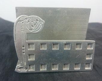 Vintage Pewter Metal  Charles Rennie Mackintosh Arts and Crafts Style Desktop Business Card Holder