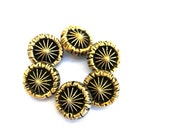 6 Antique vintage glass buttons, black with gold colorrays design for button jewelry, choose size