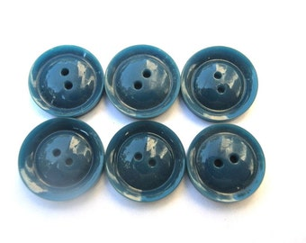 6 Antique vintage buttons unique blue shade simple beautiful buttons 17mm