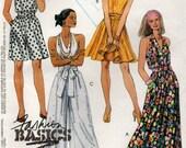 Ladies 90s Dress split Skirt Culotte Halter Neck Dress Sewing Pattern McCall 6004