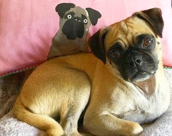 Pug dog pet portrait pillow cover pink home decor cushion