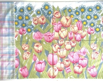 Vintage yellow pink tulips and dsisies  floral pillowcase set with plaids set of two