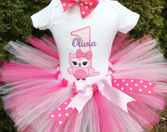 Owl 1st Birthday Outfit - Baby Girl First Birthday Tutu Outfit - Bodysuit, Tutu and Headband - Cake Smash Outfit