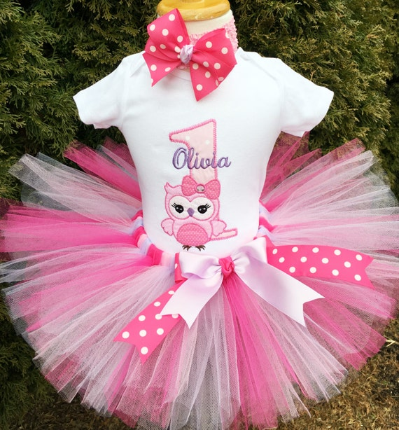 Baby Girl 1st Birthday Outfit Pink Owl First Birthday Tutu