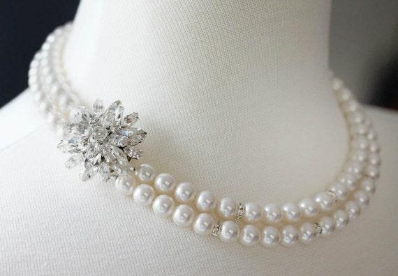 Pearl Rhinestone Necklace Wedding Necklace Double Strand Necklace Art Deco