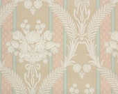 1930s Vintage Wallpaper by the Yard - Floral Damask Wallpaper with Pastel Pink Blue Stipes