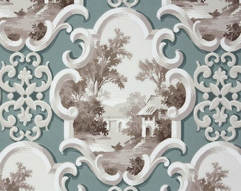1950s Vintage Wallpaper by the Yard - Brown and Gray Scenic
