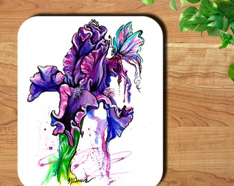 Purple Iris Flower and Butterfly Watercolor Art Print Mouse Pad