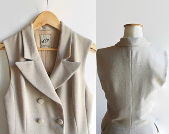 Double Breasted Waistcoat Dress, Maxi, Sleeveless, Pockets, Vintage Womens Clothes, Beige Crepe, 90s, Size 8, Mid Season Dress Buttoned Down