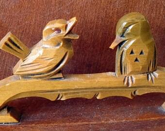 Carved Wood Birds Letter Holder Napkin Holder Rustic Style