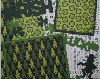 Kiss me I'm Irish....St. Patrick's Day...TWO completed 12x12 Premade Scrapbook pages
