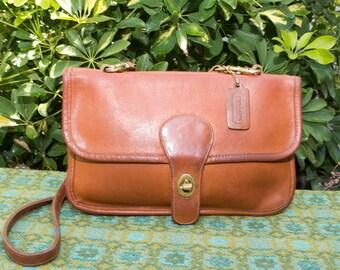 Vintage Coach NYC British Tan Leather Double Sided Crossbody Bag Purse Bonnie Cashin 0729161