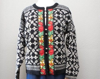 ON SALE Vintage Nordic Skandia of Vale Dale of Norway Pure Wool Black and White Sweater Jacket