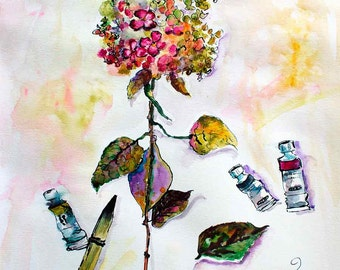 Hydrangea and Objects from My Studio Still Life Original Watercolor and Ink Painting