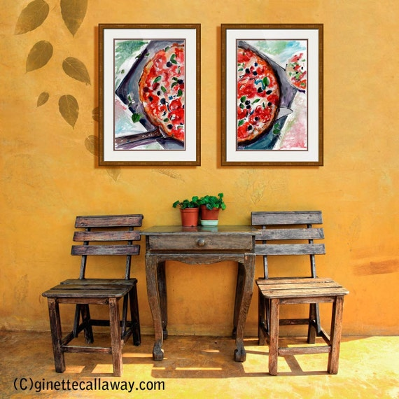 Neapolitan Pizza Food Art Diptych Watercolor and Ink Paintings