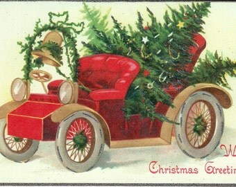 With Christmas Greeting Postcard by Cavallini to Mail or for Framing, Book Making, Decoupage, Collage, Scrapbooking & Paper Arts PSS 2688