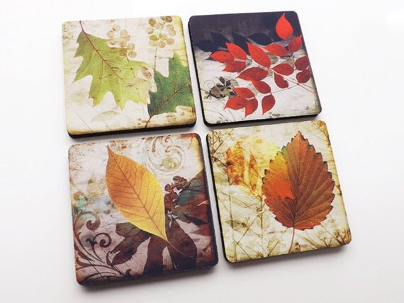 Fall Leaves drink COASTERS Autumn hostess gift set housewarming holiday nature thanksgiving stocking stuffers party favors home decor