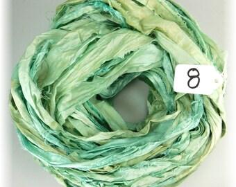 Sari Silk Ribbon, Recycled Silk Sari Ribbon, Aqua sari ribbon, recycled rag ribbon, antique aqua ribbon