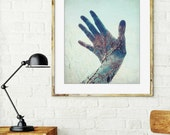 Hand photograph, whimsical photography, double exposure, tree photography, surreal wall art, blue and gold