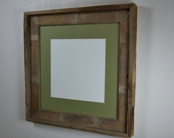12x12 photo frame from weathered wood with mat for 10x10 or 8x8 photo or print