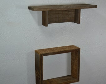 Barn wood shelf and shadow box eco friendly home decor