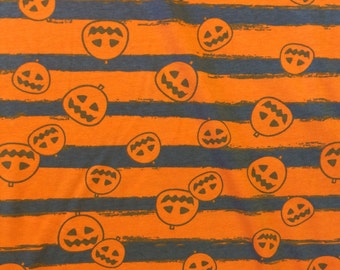 """Halloween Pumpkins on Orange and Charcoal Striped cotton lycra knit fabric 58"""" wide"""