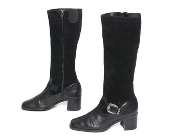 size 9.5 BUCKLE black leather 80s 90s EQUESTRIAN knee high TALL boots